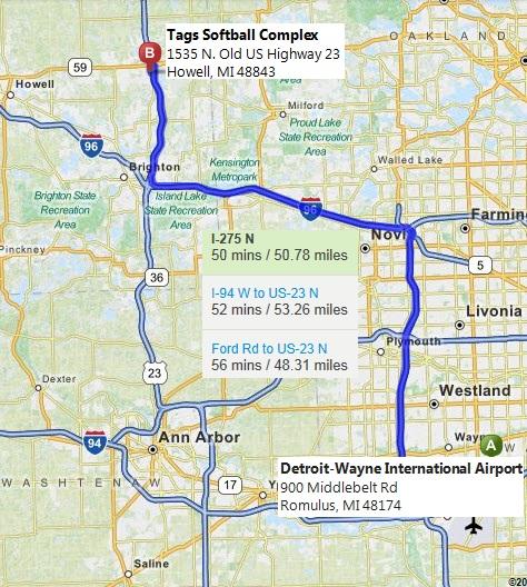 Senior SoftballUSA - Map of us 23 in michigan